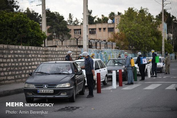 ضدعفونی معابر عمومی و کوچههای شهر کوهدشت توسط گروههای جهادی