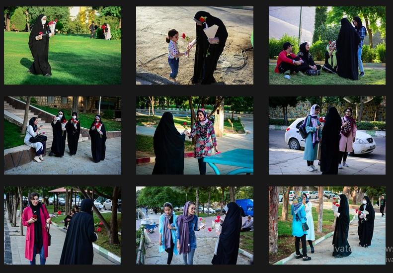 ترویج حجاب با اهدای گل توسط یک خانواده در خرمآباد
